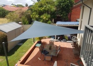 Shade Sail over paved entertaining area